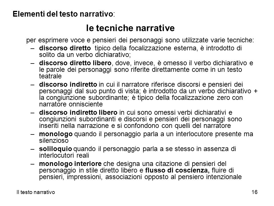 le tecniche narrative Elementi del testo narrativo: