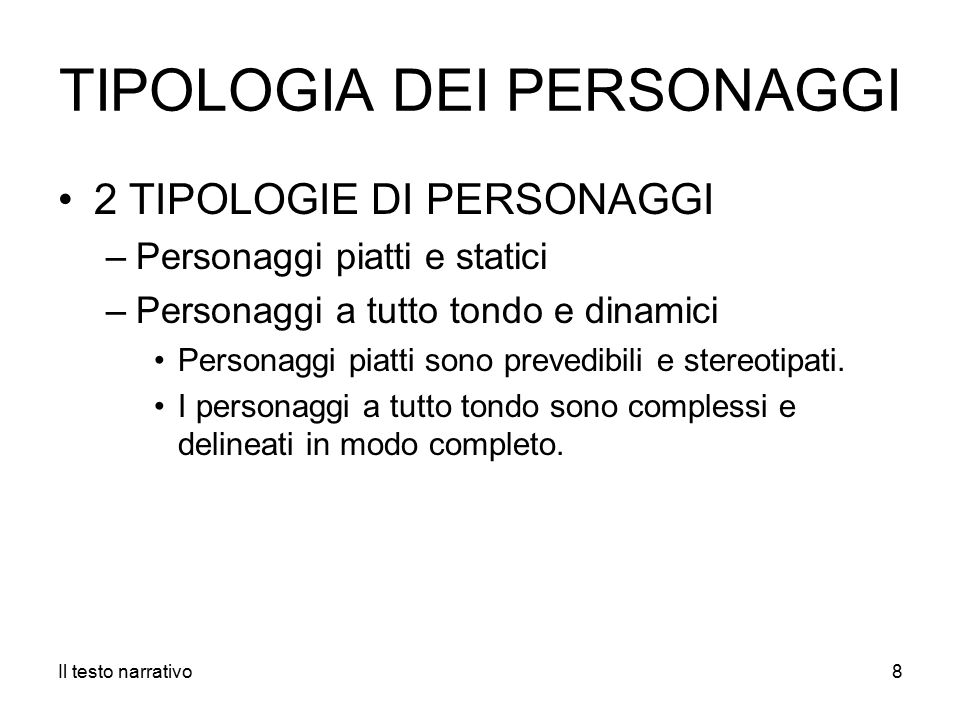 TIPOLOGIA DEI PERSONAGGI