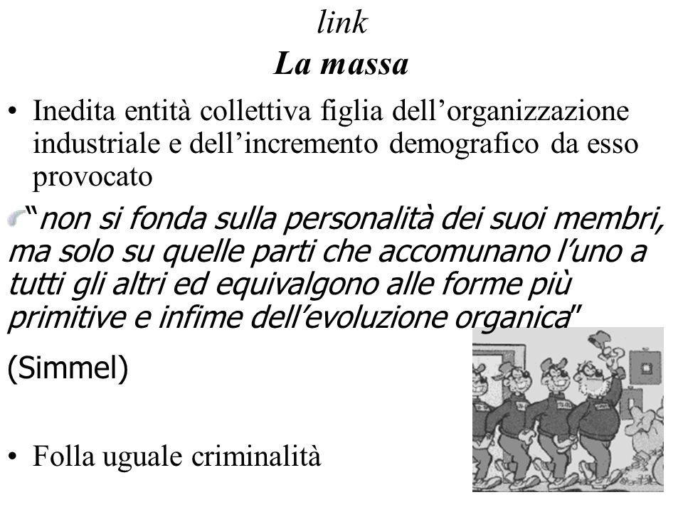 link La massa Inedita entità collettiva figlia dell'organizzazione industriale e dell'incremento demografico da esso provocato.