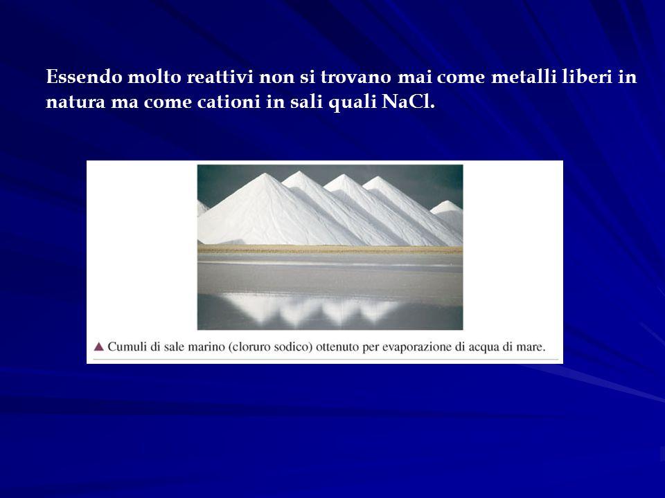 Essendo molto reattivi non si trovano mai come metalli liberi in natura ma come cationi in sali quali NaCl.