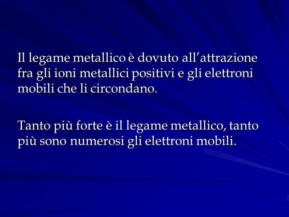 Il legame metallico è dovuto all'attrazione fra gli ioni metallici positivi e gli elettroni mobili che li circondano.