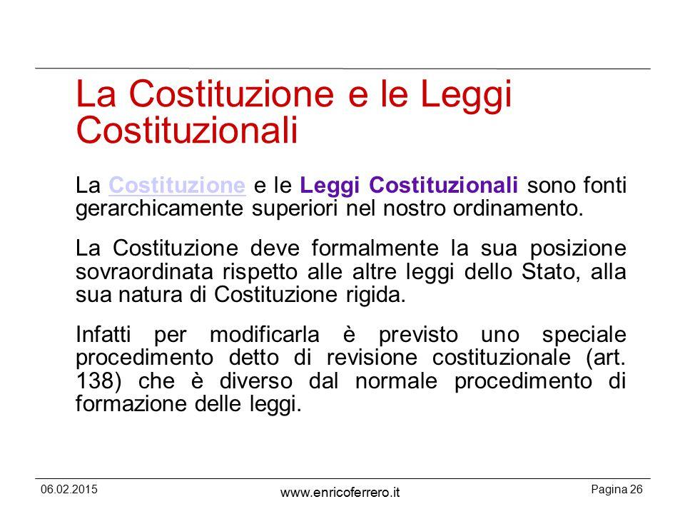 La Costituzione e le Leggi Costituzionali