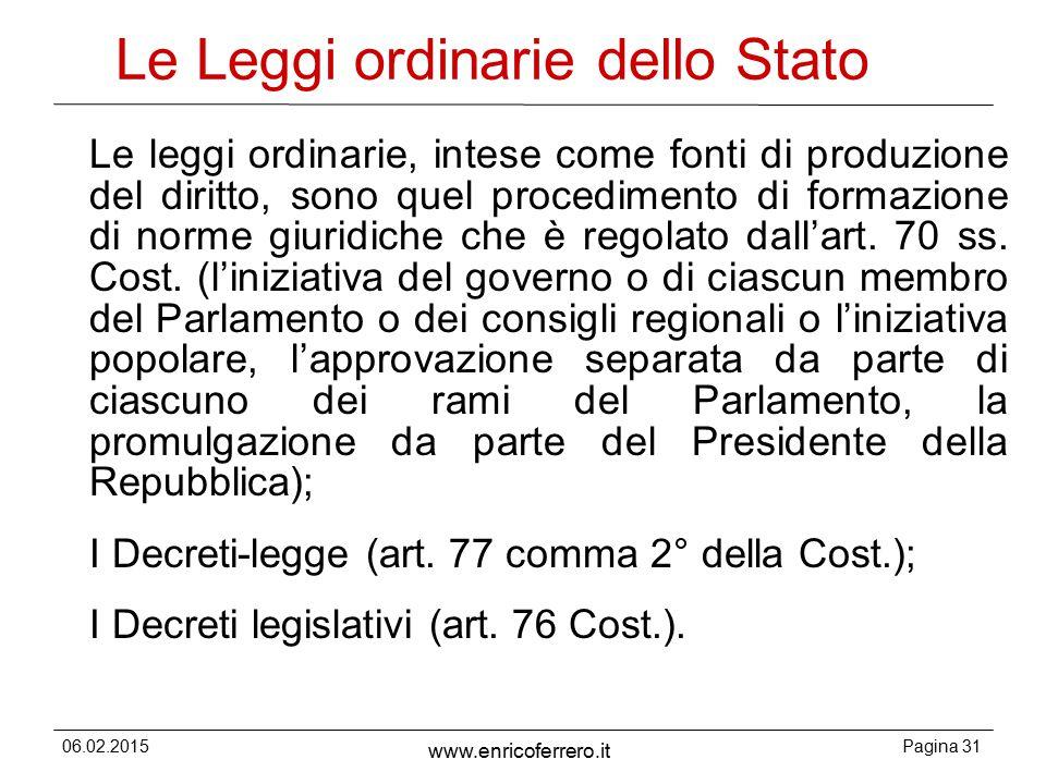 Le Leggi ordinarie dello Stato