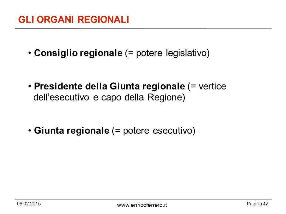 • Consiglio regionale (= potere legislativo)