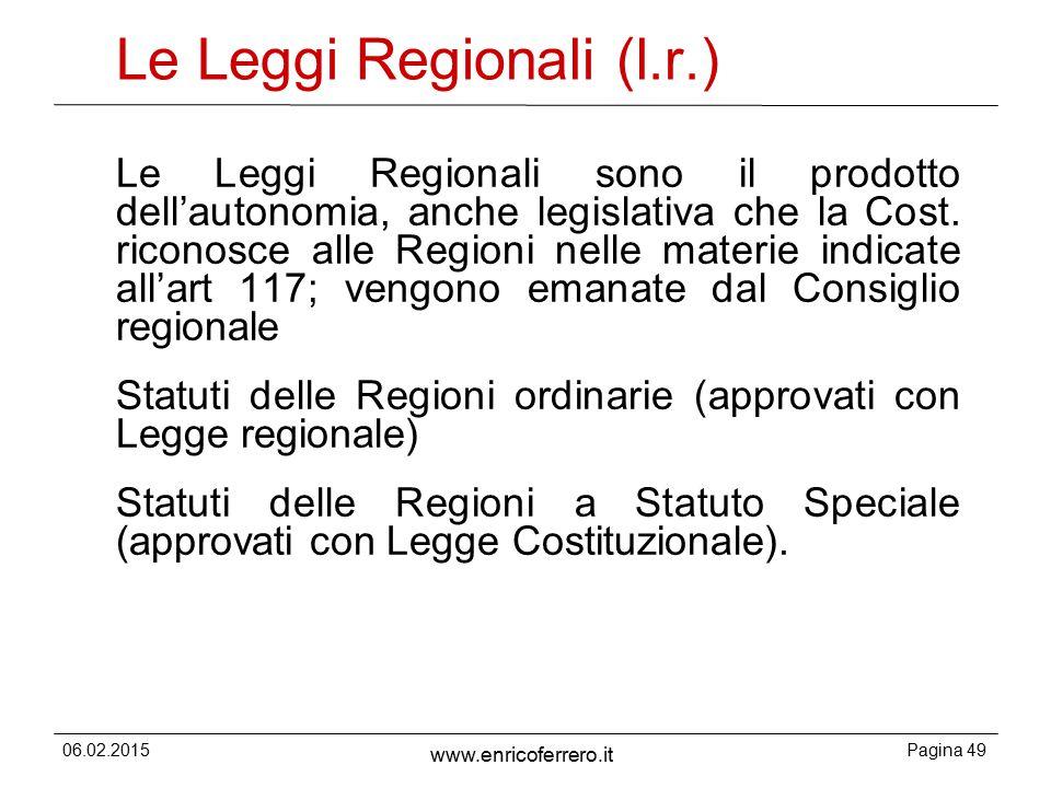 Le Leggi Regionali (l.r.)