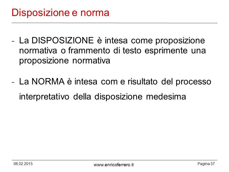Disposizione e norma La DISPOSIZIONE è intesa come proposizione normativa o frammento di testo esprimente una proposizione normativa.