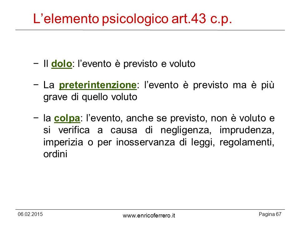 L'elemento psicologico art.43 c.p.