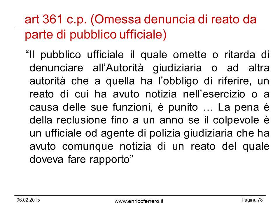 art 361 c.p. (Omessa denuncia di reato da parte di pubblico ufficiale)