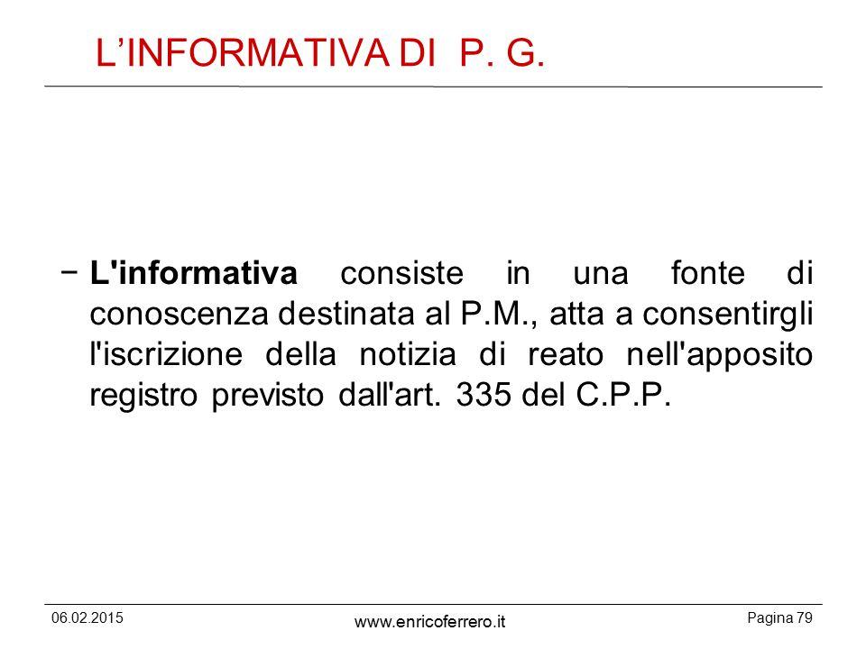 L'INFORMATIVA DI P. G.