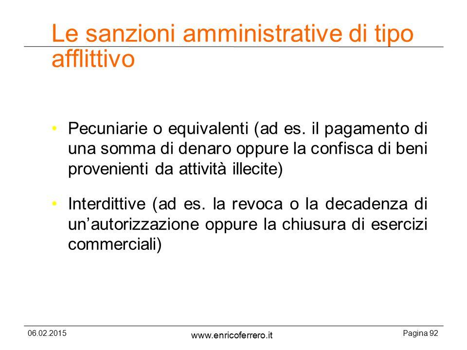 Le sanzioni amministrative di tipo afflittivo