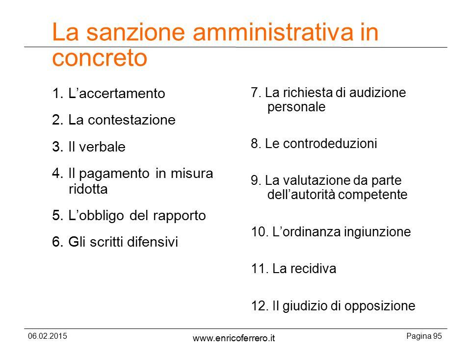 La sanzione amministrativa in concreto