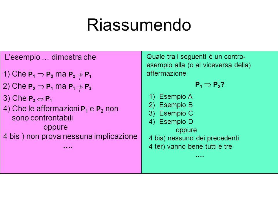 Riassumendo L'esempio … dimostra che 1) Che P1  P2 ma P2  P1