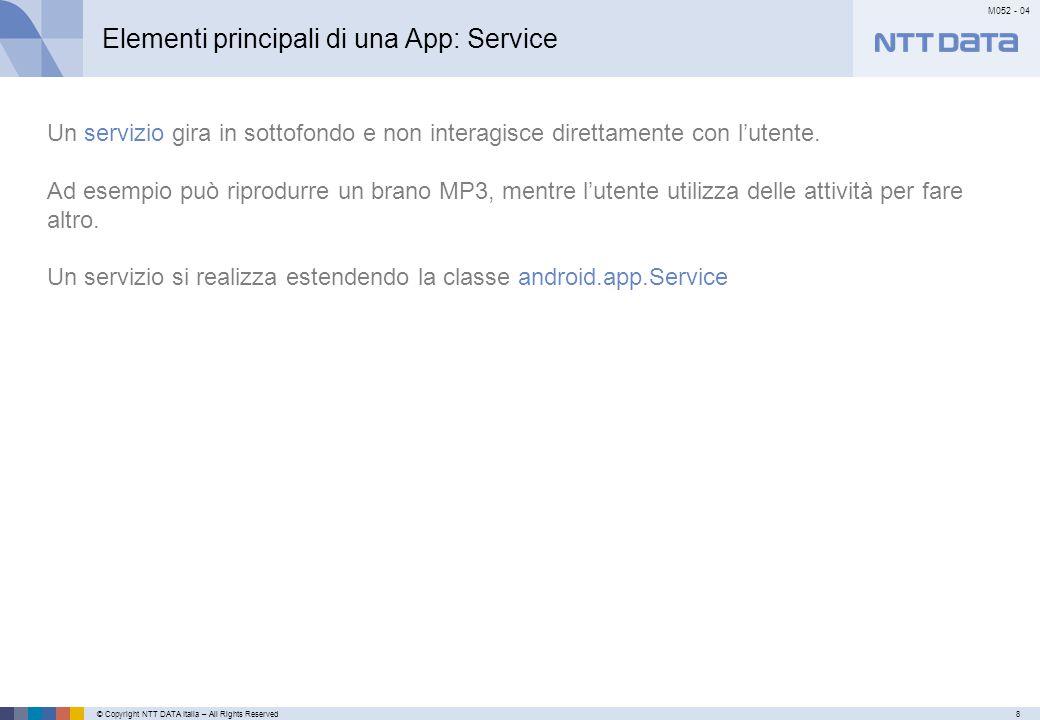 Elementi principali di una App: Broadcast Receiver