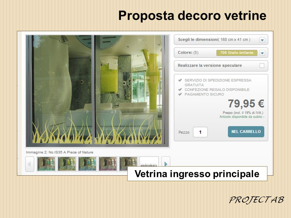 Proposta decoro vetrine Vetrina ingresso principale