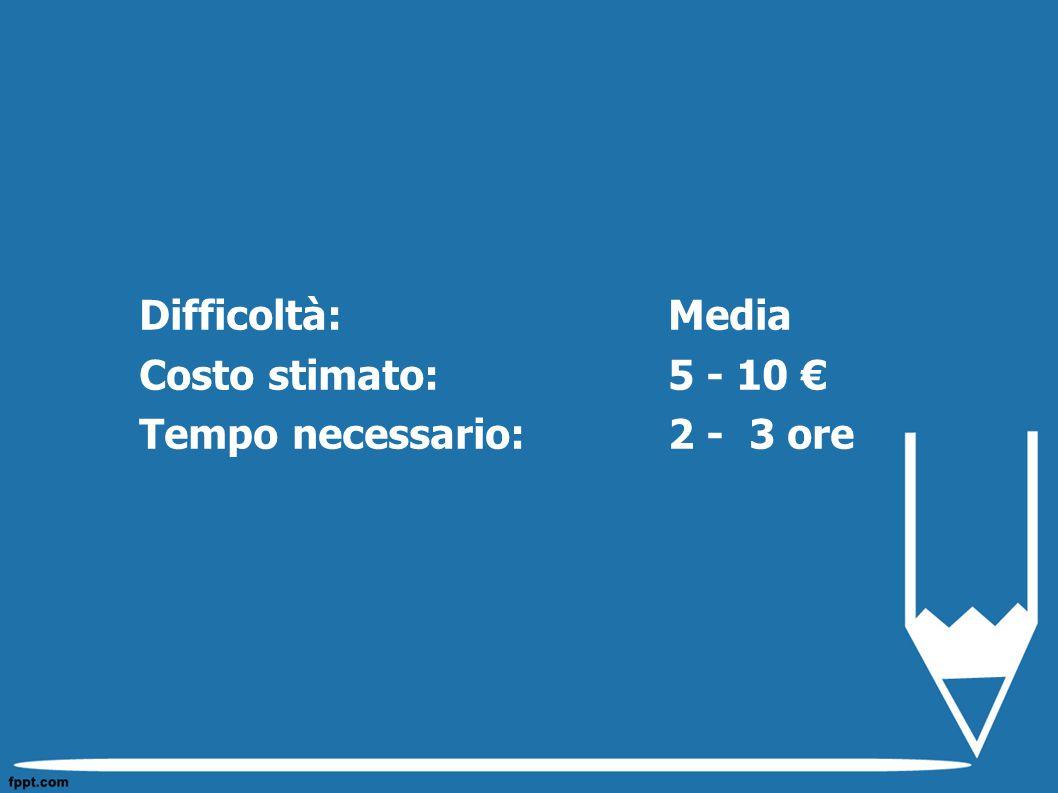 Difficoltà: Media Costo stimato: 5 - 10 € Tempo necessario: 2 - 3 ore