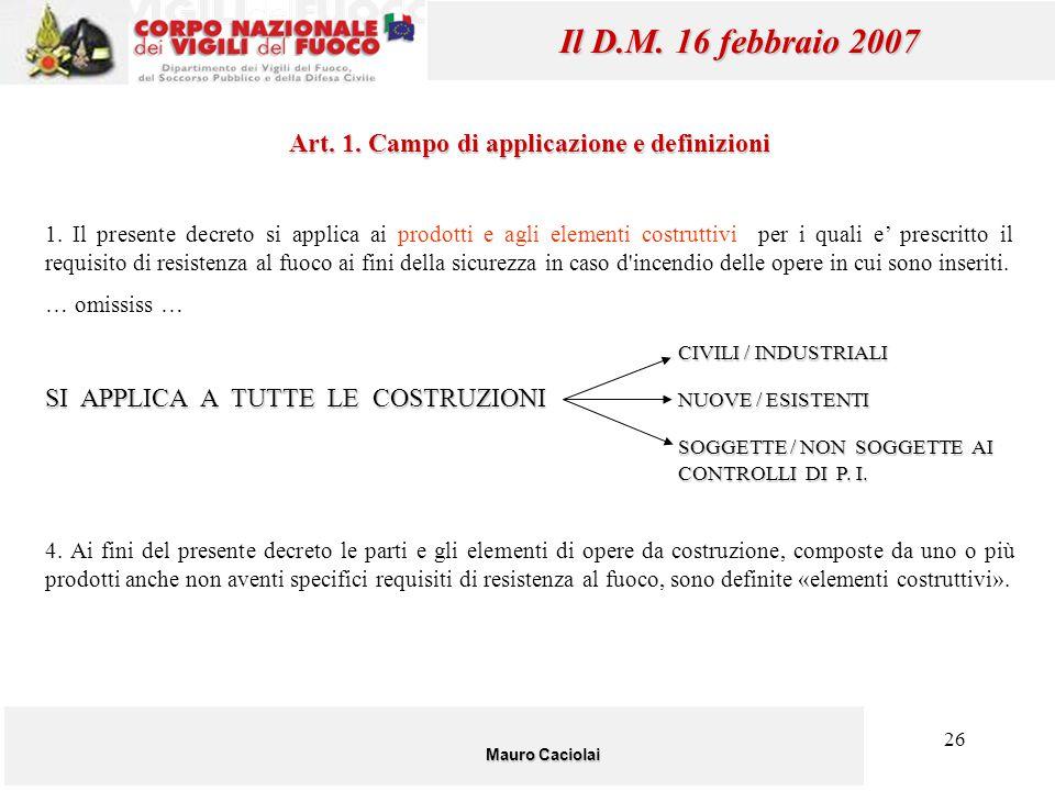 Art. 1. Campo di applicazione e definizioni