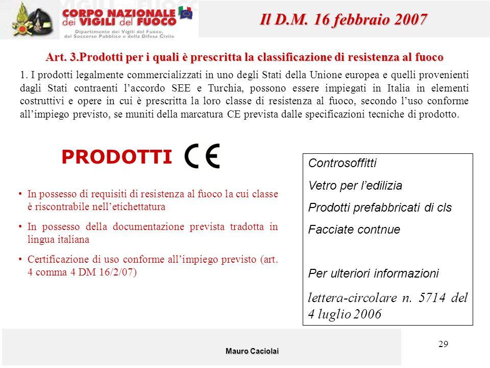PRODOTTI Il D.M. 16 febbraio 2007