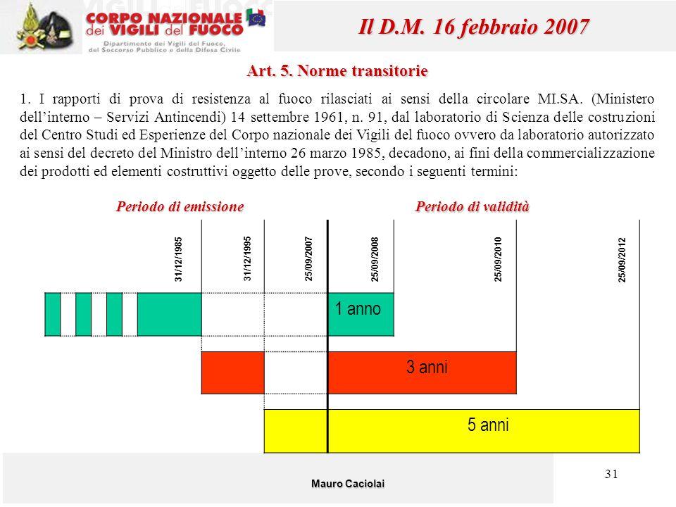 Il D.M. 16 febbraio 2007 1 anno 3 anni 5 anni