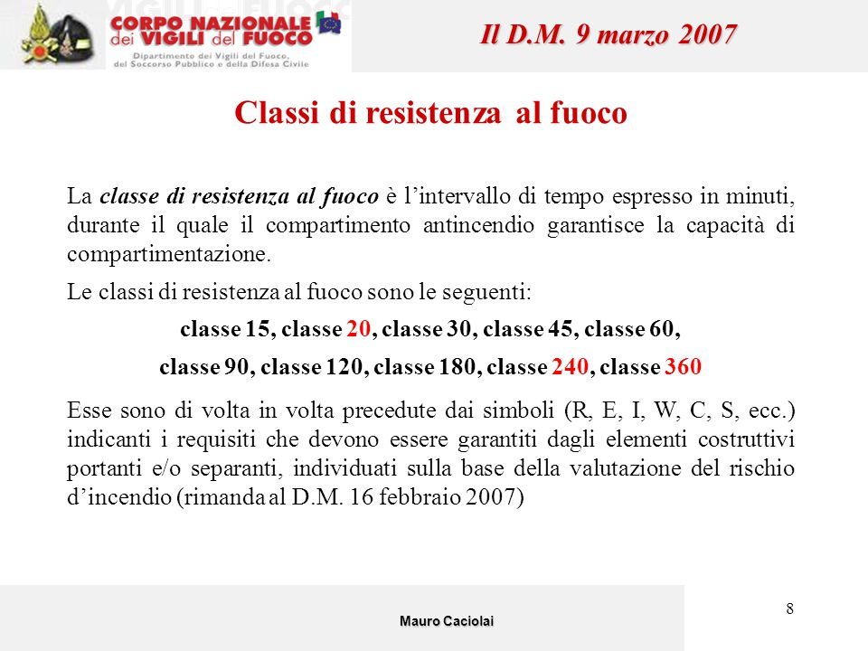 Classi di resistenza al fuoco Il D.M. 9 marzo 2007