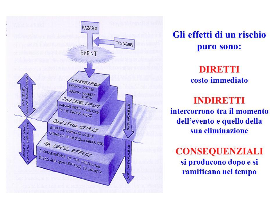 Gli effetti di un rischio puro sono: DIRETTI costo immediato INDIRETTI intercorrono tra il momento dell'evento e quello della sua eliminazione CONSEQUENZIALI si producono dopo e si ramificano nel tempo