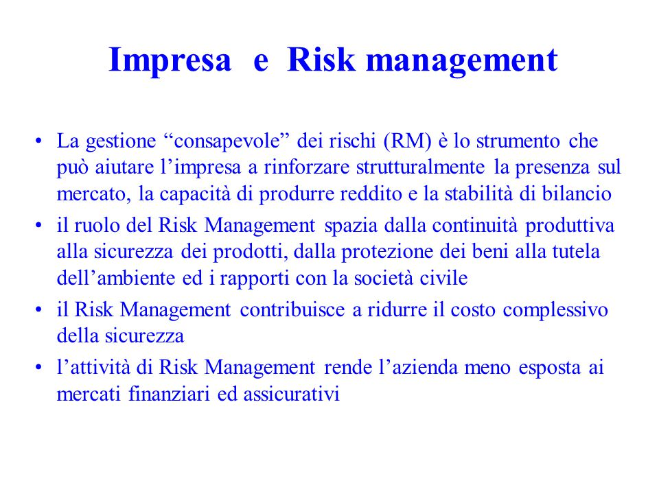 Impresa e Risk management