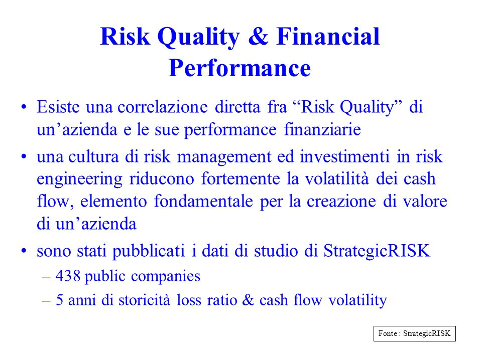 Risk Quality & Financial Performance