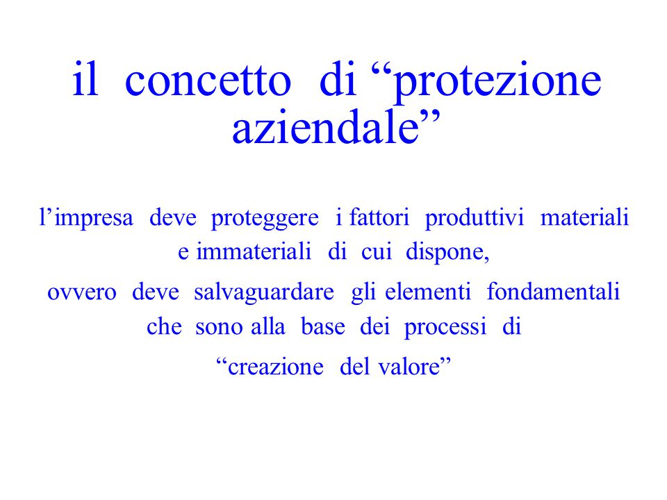 il concetto di protezione aziendale