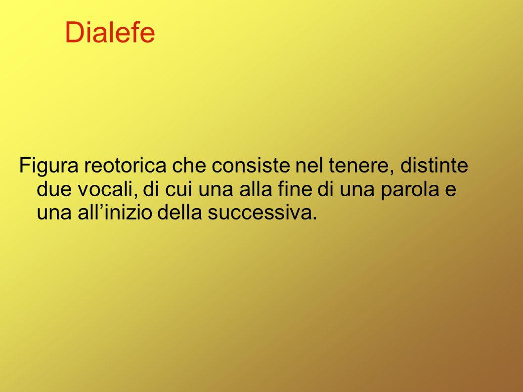 Dialefe Figura reotorica che consiste nel tenere, distinte due vocali, di cui una alla fine di una parola e una all'inizio della successiva.