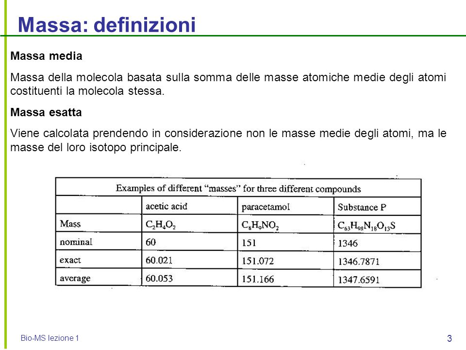 Massa: definizioni Massa media