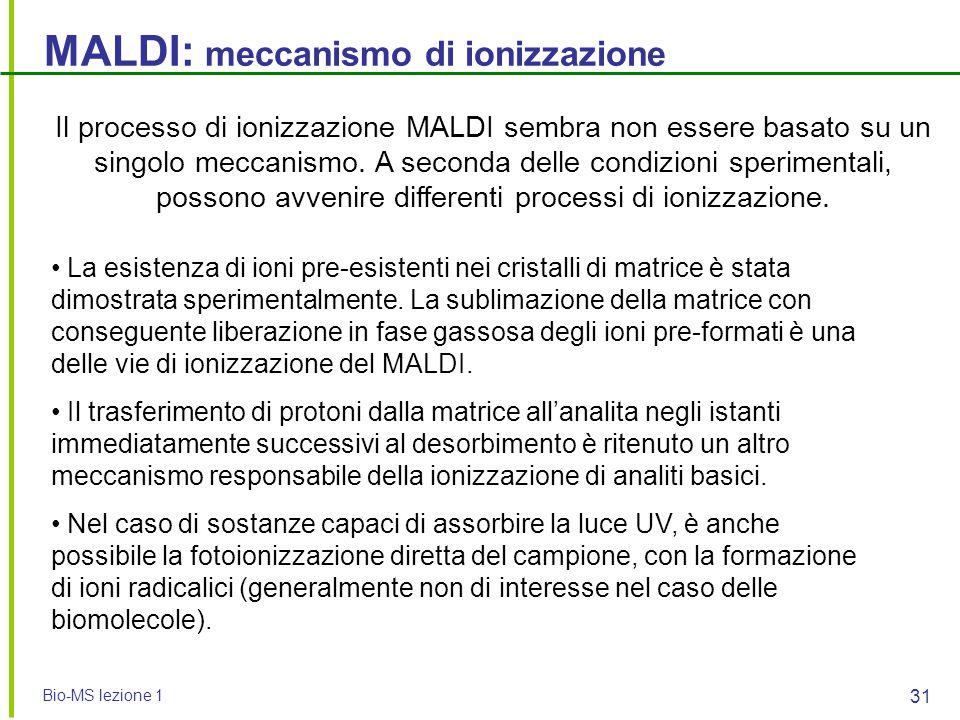 MALDI: meccanismo di ionizzazione