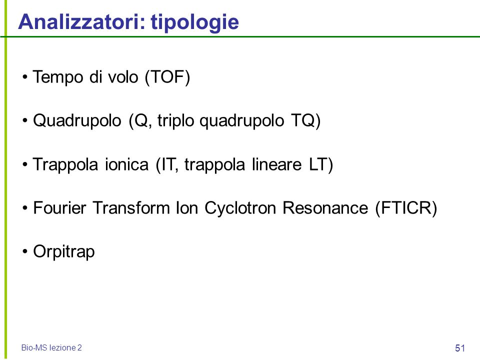 Analizzatori: tipologie