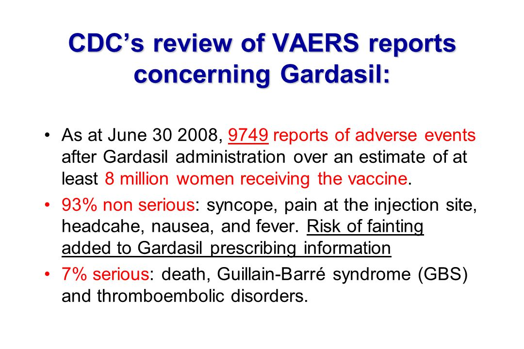 CDC's review of VAERS reports concerning Gardasil: