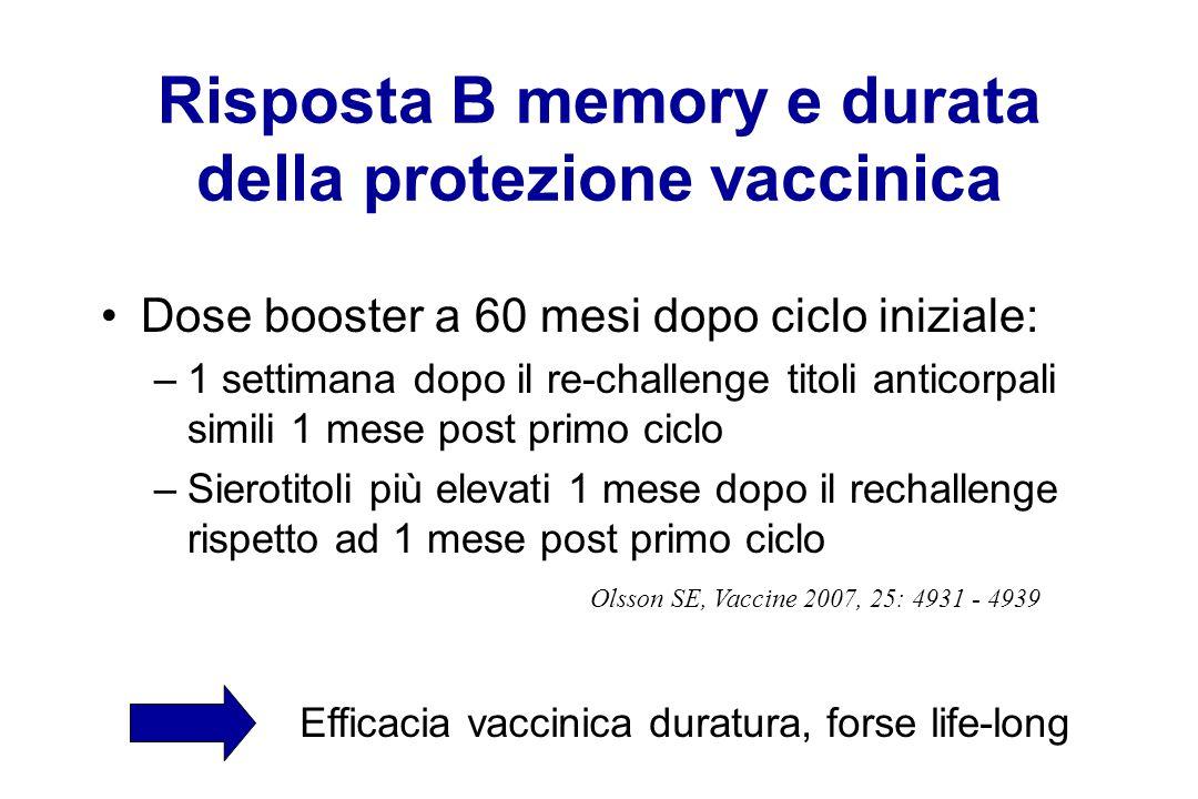Risposta B memory e durata della protezione vaccinica