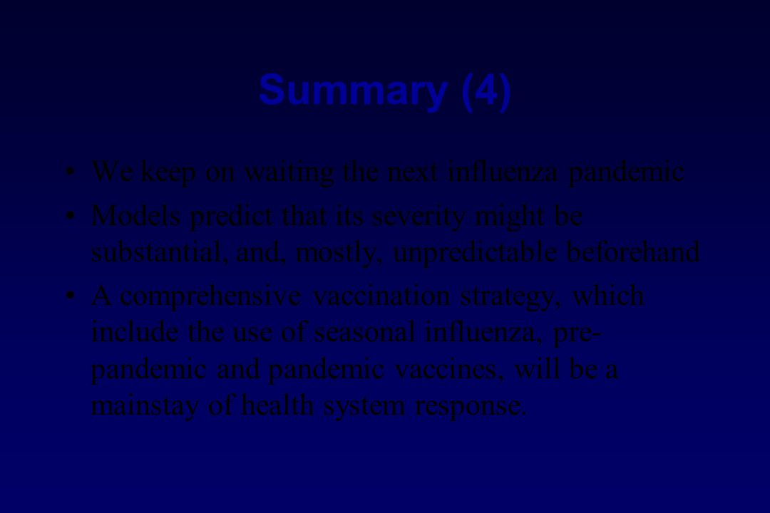Summary (4) We keep on waiting the next influenza pandemic