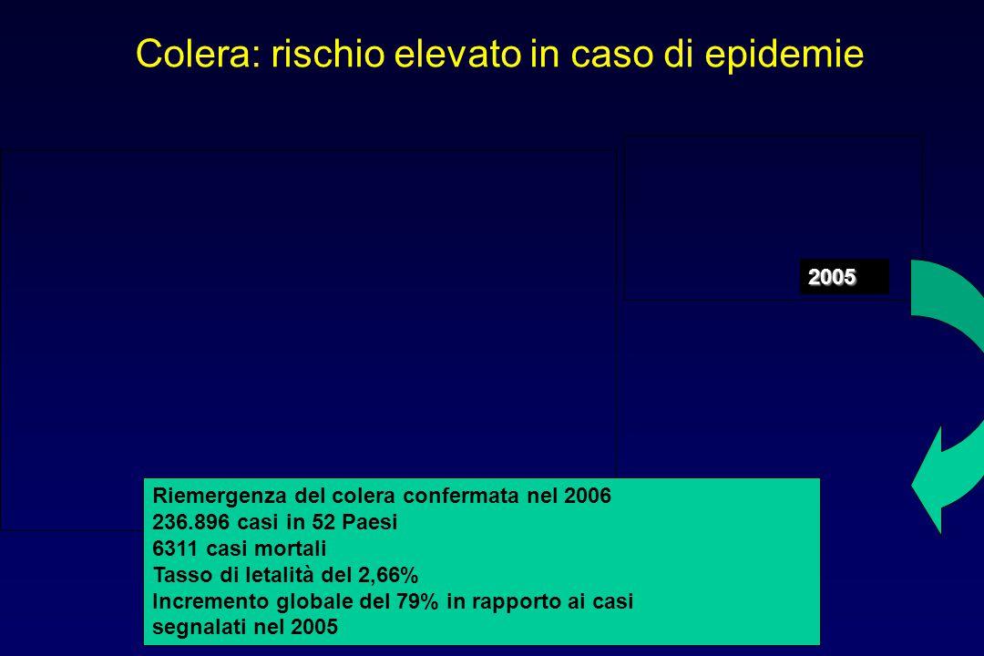 Colera: rischio elevato in caso di epidemie