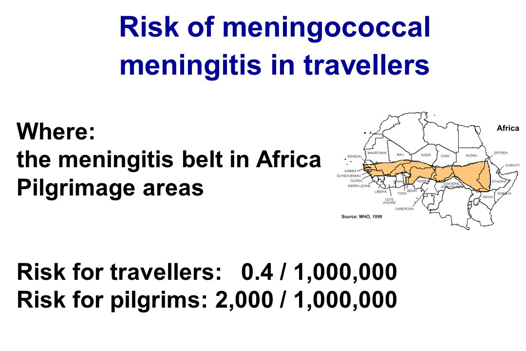 Risk of meningococcal meningitis in travellers