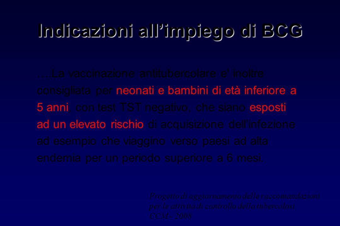 Indicazioni all'impiego di BCG