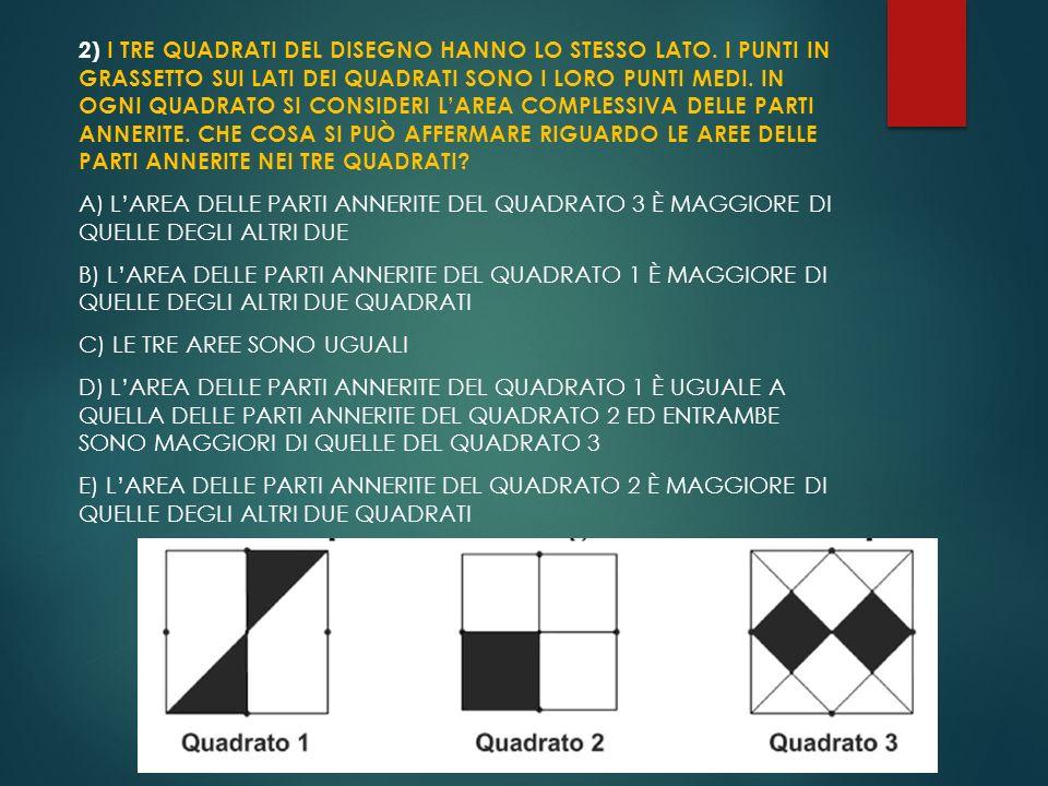 2) I TRE QUADRATI DEL DISEGNO HANNO LO STESSO LATO