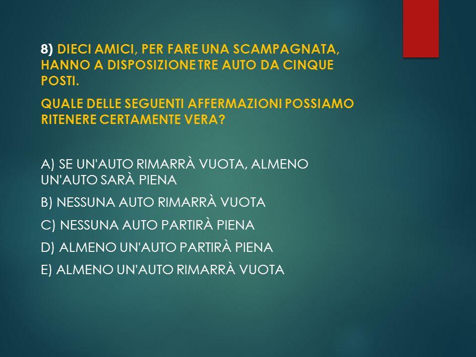 8) Dieci amici, per fare una scampagnata, hanno a disposizione tre auto da cinque posti.