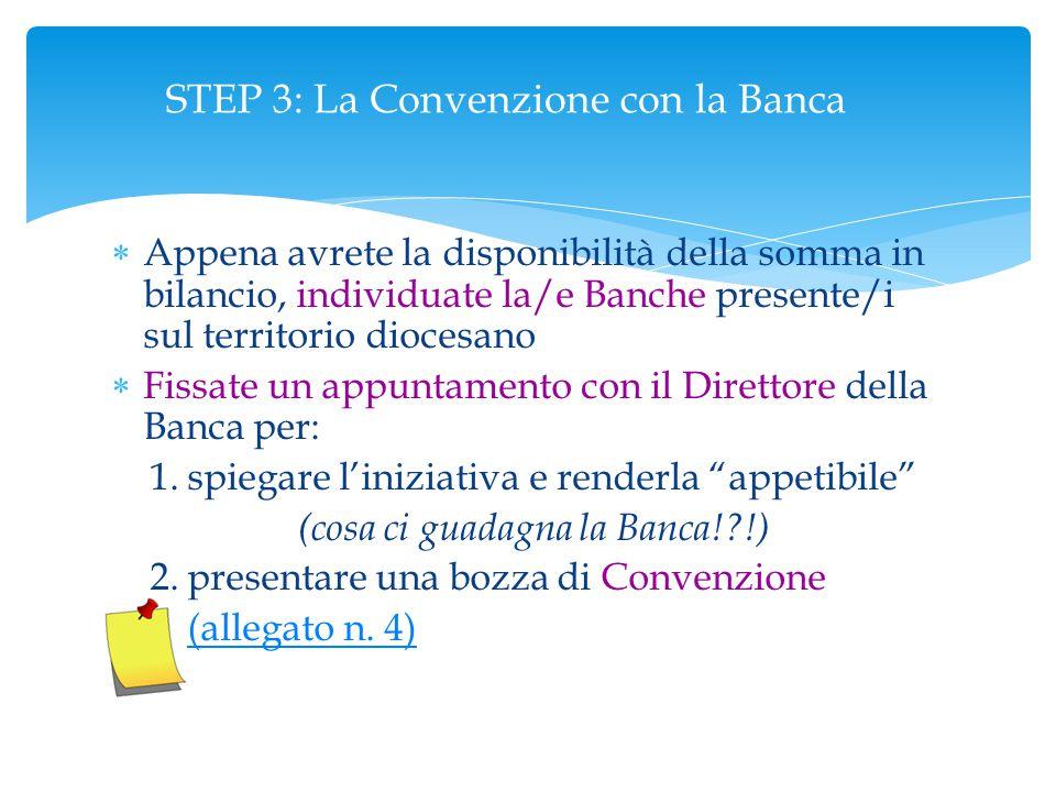 STEP 3: La Convenzione con la Banca