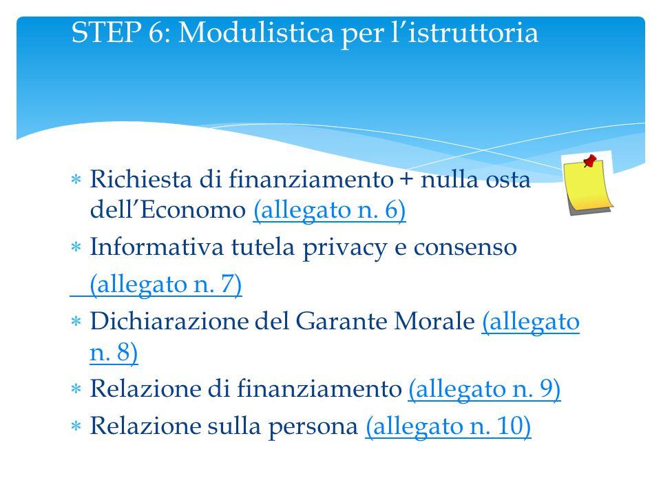 STEP 6: Modulistica per l'istruttoria