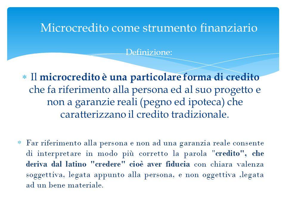 Microcredito come strumento finanziario Definizione: