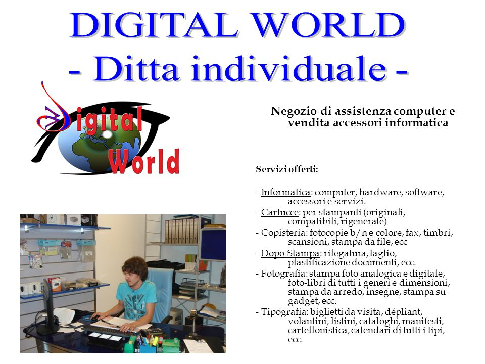 Negozio di assistenza computer e vendita accessori informatica