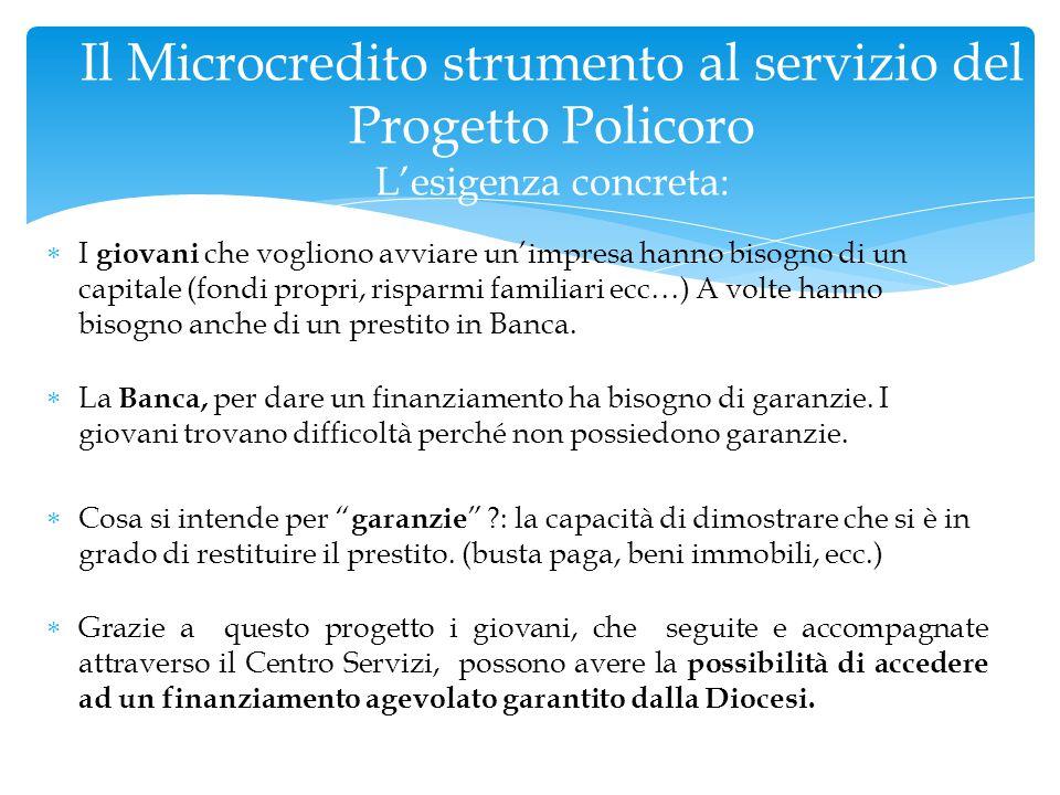 Il Microcredito strumento al servizio del Progetto Policoro L'esigenza concreta: