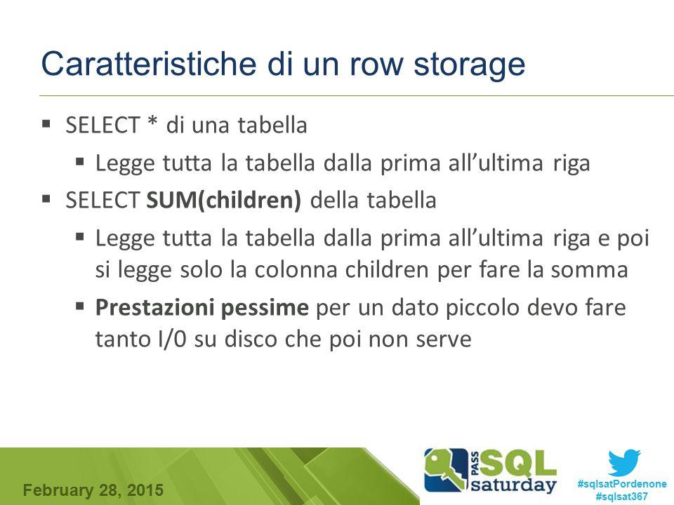 Caratteristiche di un row storage