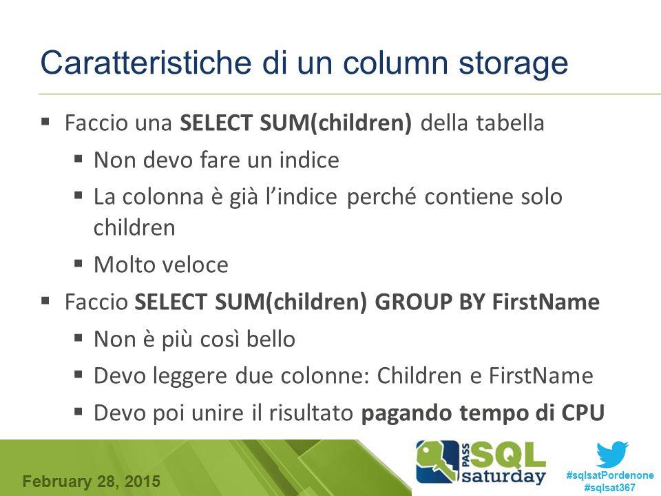 Caratteristiche di un column storage