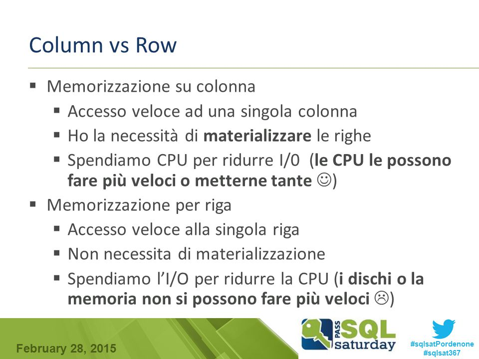 Column vs Row Memorizzazione su colonna
