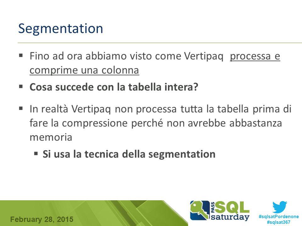 Segmentation Fino ad ora abbiamo visto come Vertipaq processa e comprime una colonna. Cosa succede con la tabella intera