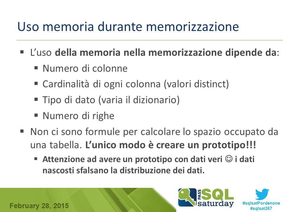 Uso memoria durante memorizzazione