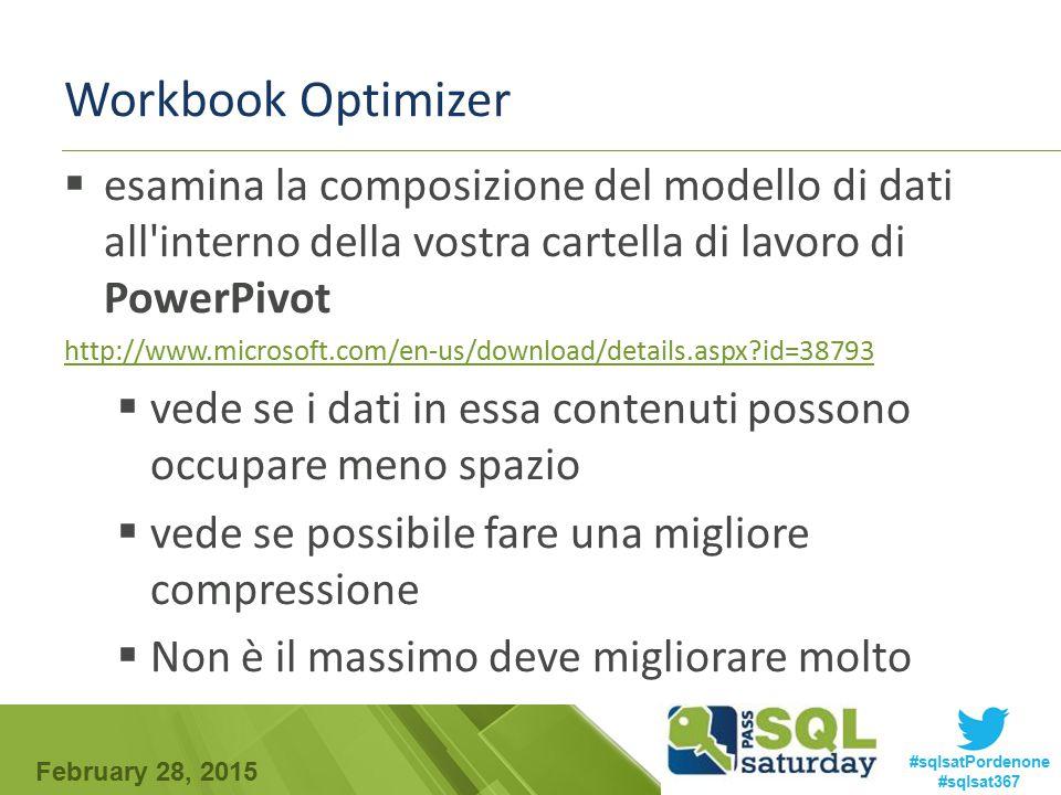 Workbook Optimizer esamina la composizione del modello di dati all interno della vostra cartella di lavoro di PowerPivot.